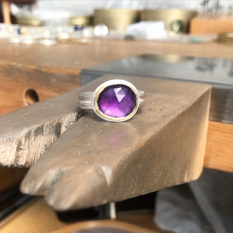 Rose cut amethyst ring, 18ct gold and silver