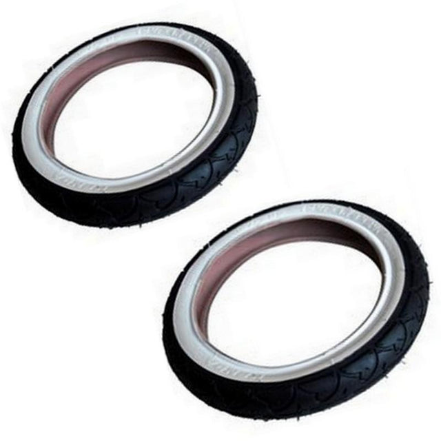 phil&teds 12 inch tyre set with white wall_black