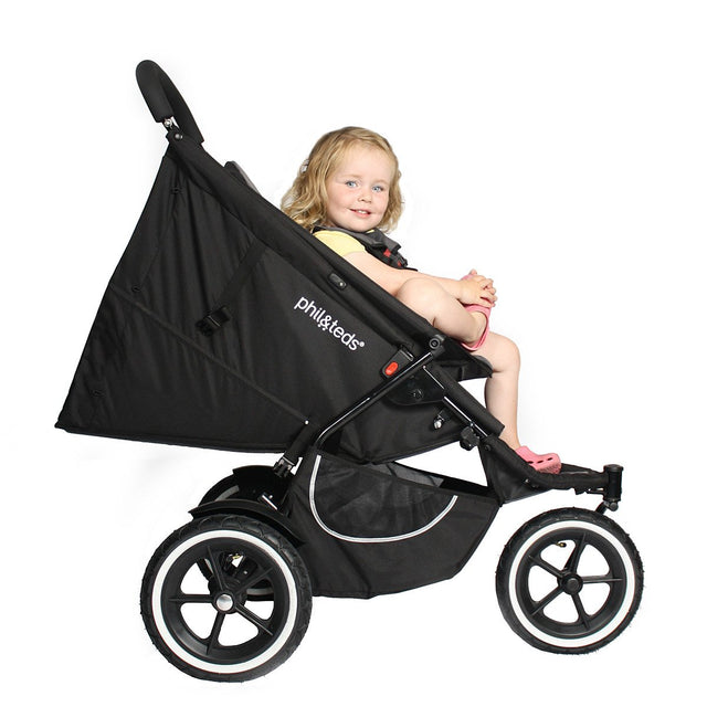 phil&teds classic buggy with double kit in front position with child seated_black