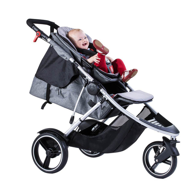 phil&teds dash lightweight inline stroller with main seat lie flat for newborn and double kit in front position with toddler in grey marl 3 qtr view_grey marl
