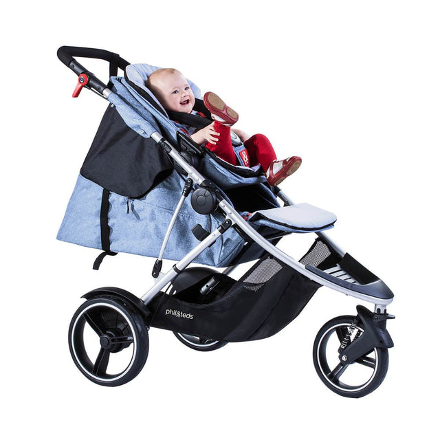 phil&teds dash lightweight inline stroller with main seat lie flat for newborn and double kit in front position with toddler in blue marl 3 qtr view_blue marl