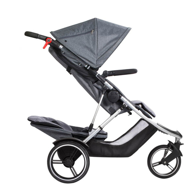 phil&teds dash lightweight inline stroller with double kit in rear position recline in grey marl side view_grey marl