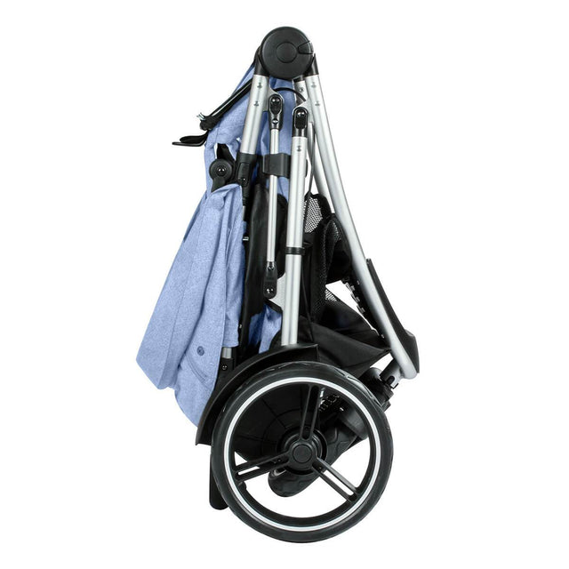phil&teds dash lightweight inline stroller compact fold in blue marl side view_blue marl