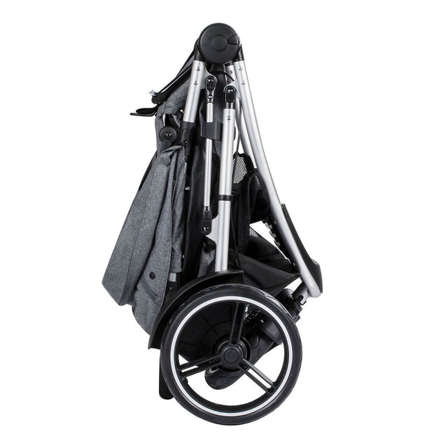 phil&teds dash lightweight inline stroller compact fold in grey marl side view_grey marl