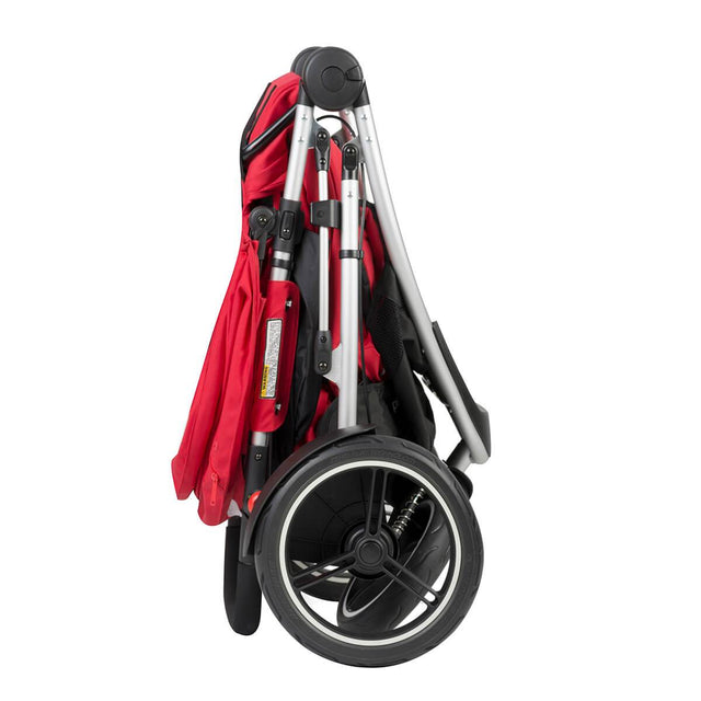 phil&teds dash lightweight inline stroller compact fold in red side view_red