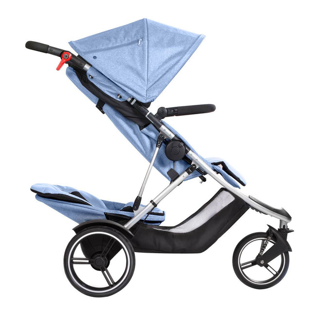 phil&teds dash lightweight inline stroller with double kit in rear position recline in blue marl side view_blue marl