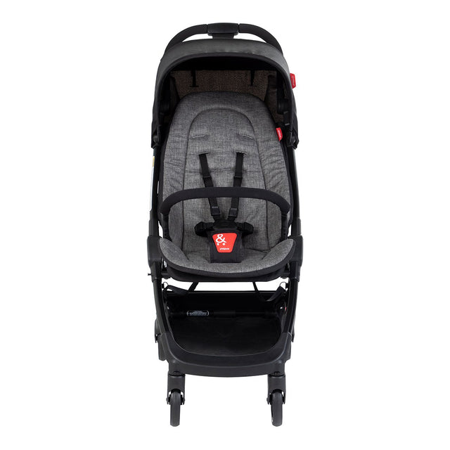 phil&teds go light and compact buggy in charcoal grey front view_charcoal