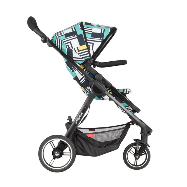 phil&teds mod stroller in abstract colour with main seat in front facing side view_abstract