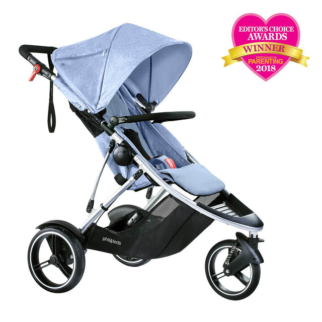 phil&teds dash lightweight inline stroller winner editors choice award 2018 in blue marl 3qtr view_blue marl