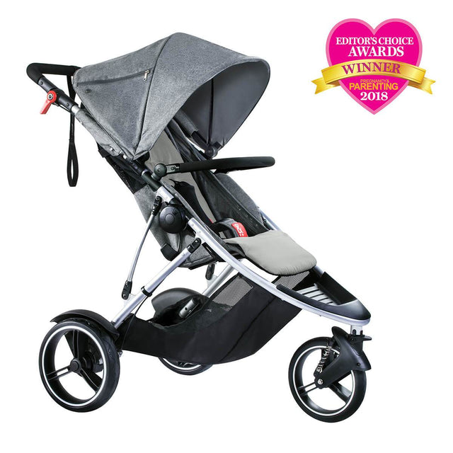 phil&teds dash lightweight inline stroller winner editors choice award 2018 in grey marl 3qtr view_grey marl