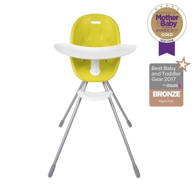 phil&teds award winning poppy high chair with food tray in lime front view _lime