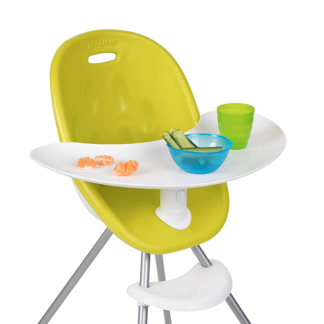 phil&teds award winning poppy high chair with close up of food tray in lime 3/4 view _lime