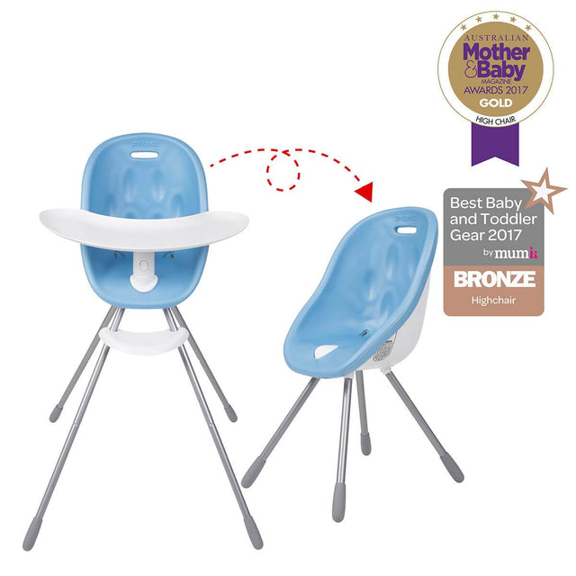 phil&teds award winning poppy high chair and my chair in bubblegum 3/4 view_bubblegum