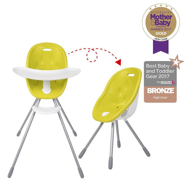 phil&teds award winning poppy high chair and my chair in lime 3/4 view_lime