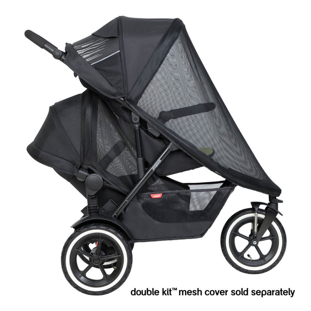 phil&teds sport buggy & double kit in lower position with sun mesh cover side view - rear mesh sold separately_default