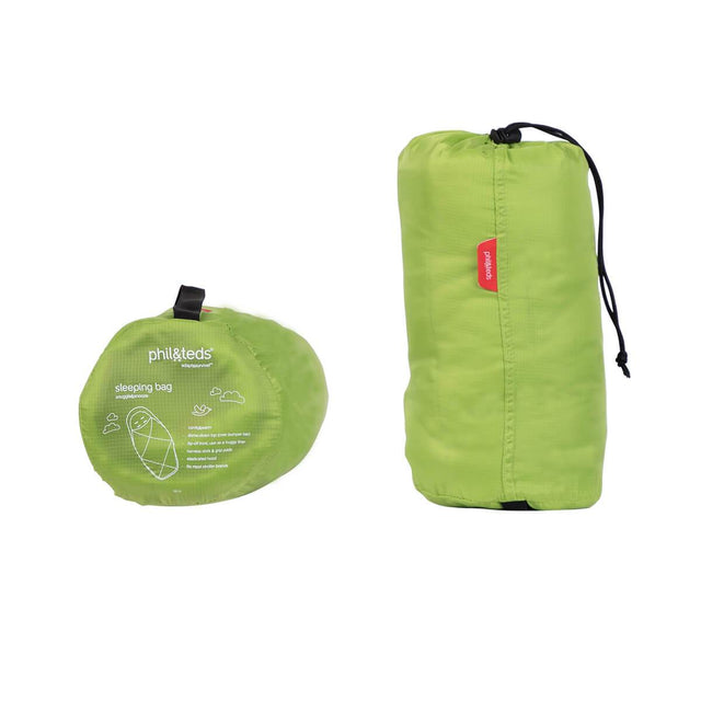 phil&teds snuggle & snooze sleeping bag in apple compactly packed front view_apple