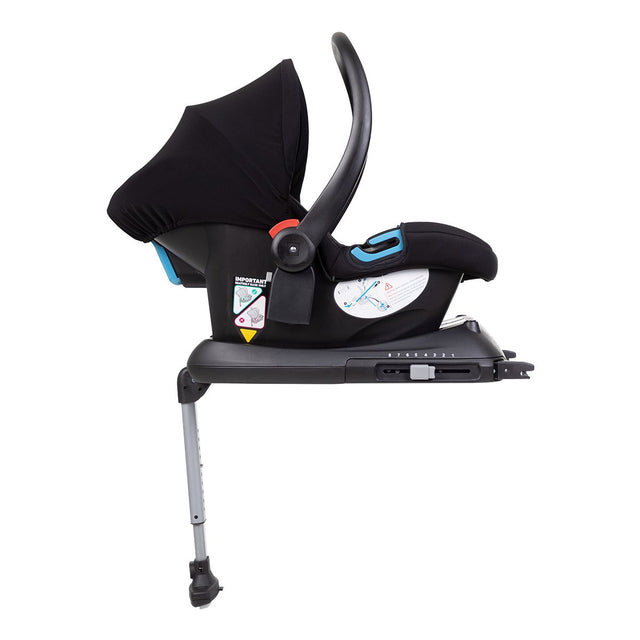 phil&teds isofix car seat base shown with optional alpha™ infant car seat attached_black