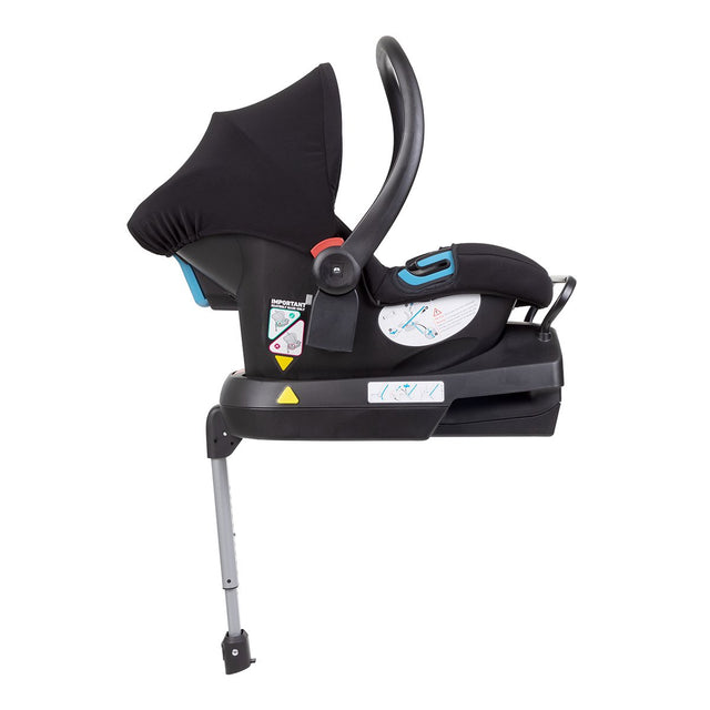 alpha™ infant car seat shown attached to the optional universal car seat base for ultimate in click and go convenience__black/grey marl