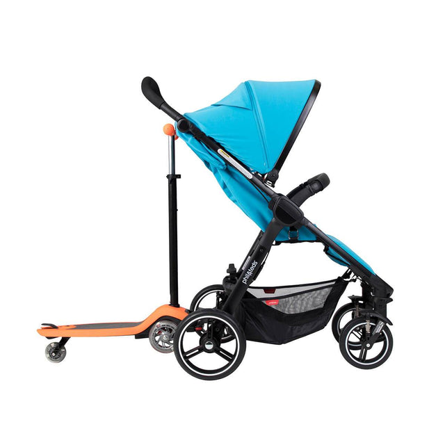 phil&teds smart stroller v3 cyan blue lightweight travel with freerider side view_cyan