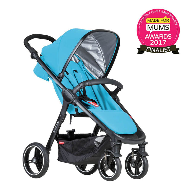 phil&teds smart stroller v3 cyan blue lightweight travel made for mums finalist 3qtr view_cyan