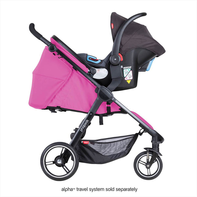 phil&teds smart stroller v3 raspberry pink with alpha carseat side view_raspberry