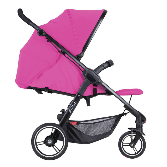 phil&teds smart stroller v3 raspberry pink  lightweight travel lie flat position side view_raspberry