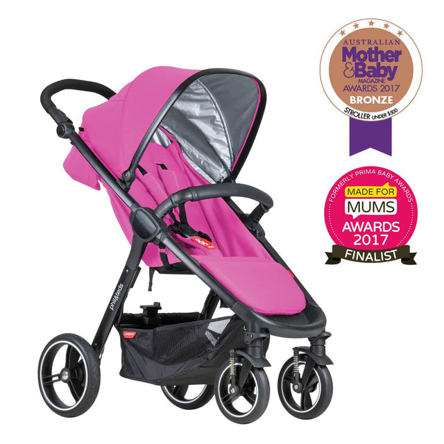 phil&teds smart stroller v3 raspberry pink lightweight travel mother and baby award winner 3qtr view_raspberry