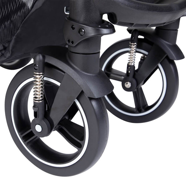 phil&teds kompakt smart buggy aerotech wheel close up_charcoal