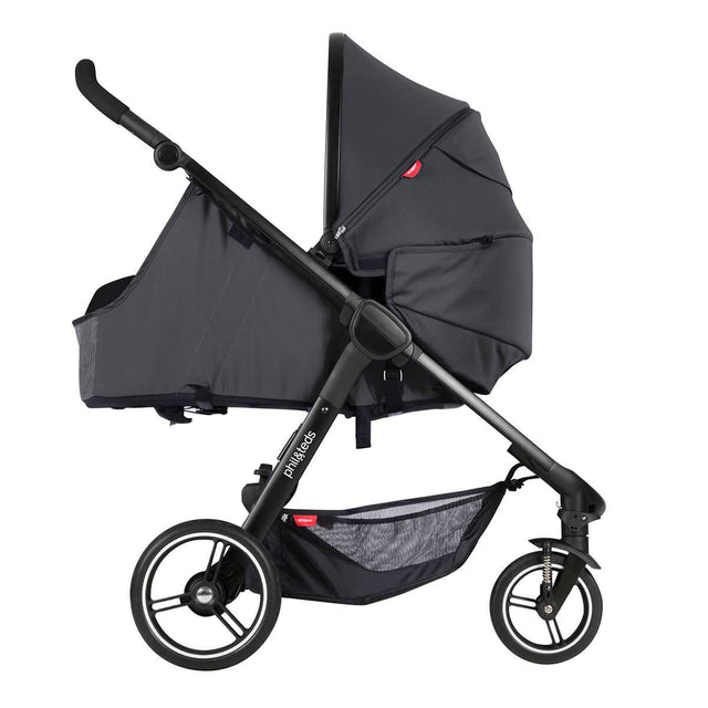 phil&teds compact smart buggy in lie flat mode with cocoon inside side view_charcoal