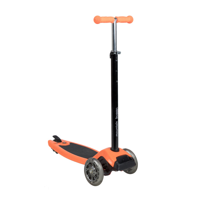 phil&teds freerider stroller board in orange handle exteds to taller child 3 qtr view_orange