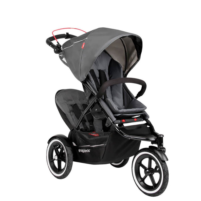 phil&teds sport navigator inline stroller double kit attached in graphite grey 3qtr view_graphite