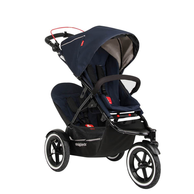 phil&teds sport navigator inline stroller double kit attached in midnight blue 3qtr view_midnight