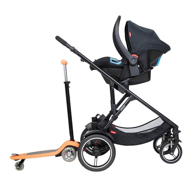 phil&teds voyager inline buggy with alpha travel system and freerider in rear