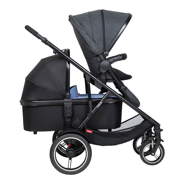 phil&teds voyager inline buggy with lie flat snug carrycot in rear and main seat front looking