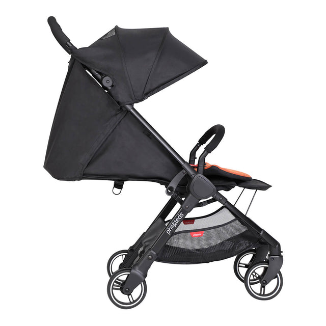 go™ 2020+ compact umbrella stroller in full lie flat showing footrest from side on