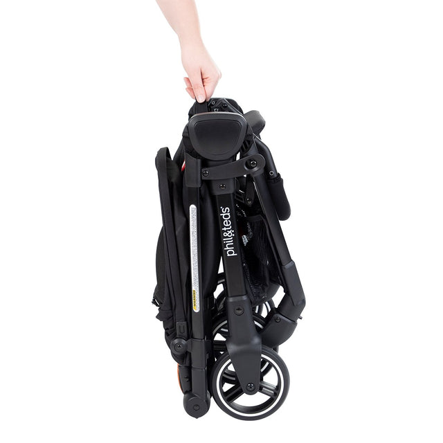 phil&teds go light and compact stroller ultra compact fold with hand side view_charcoal