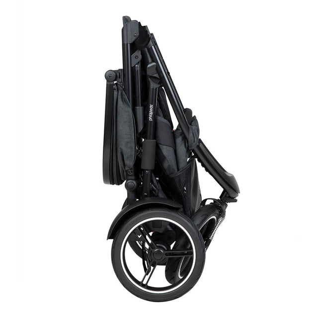 phil&teds dash  buggy compactly folded side view_charcoal