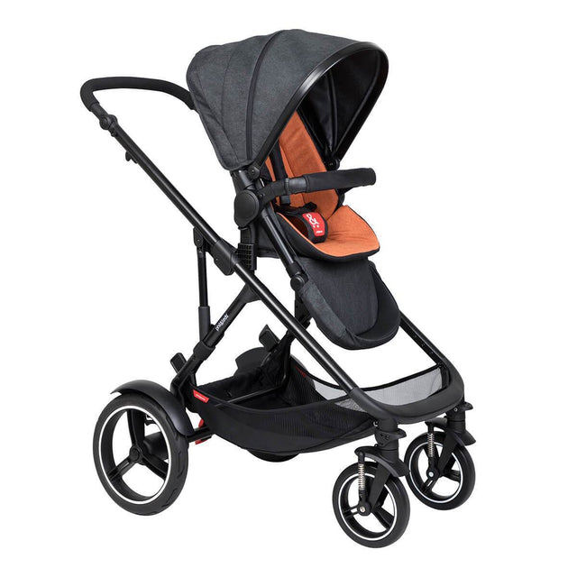 phil&teds voyager inline buggy in rust orange colour