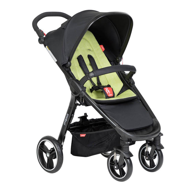 phil&teds compact smart buggy with apple liner 3/4 view_apple