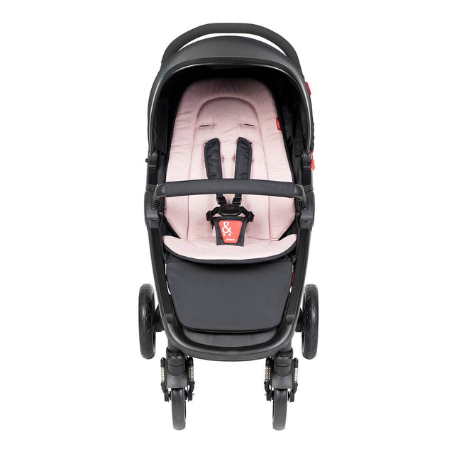 phil&teds compact smart buggy with blush liner front view_blush