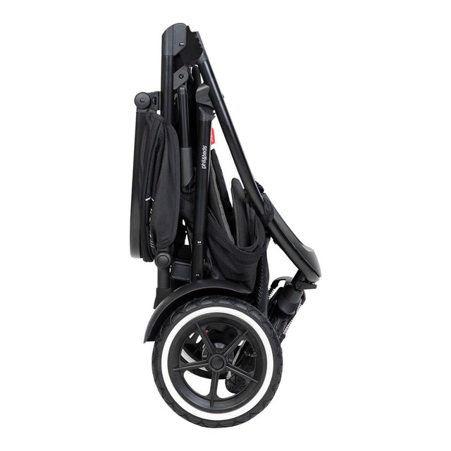 phil&teds sport inline buggy in charcoal grey compact fold side view_charcoal