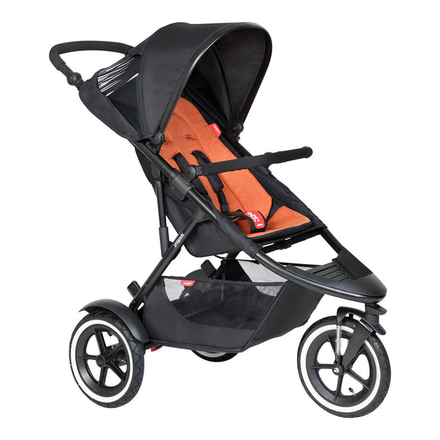phil&teds sport inline Buggy in rostrot orange 3qtr view_rust
