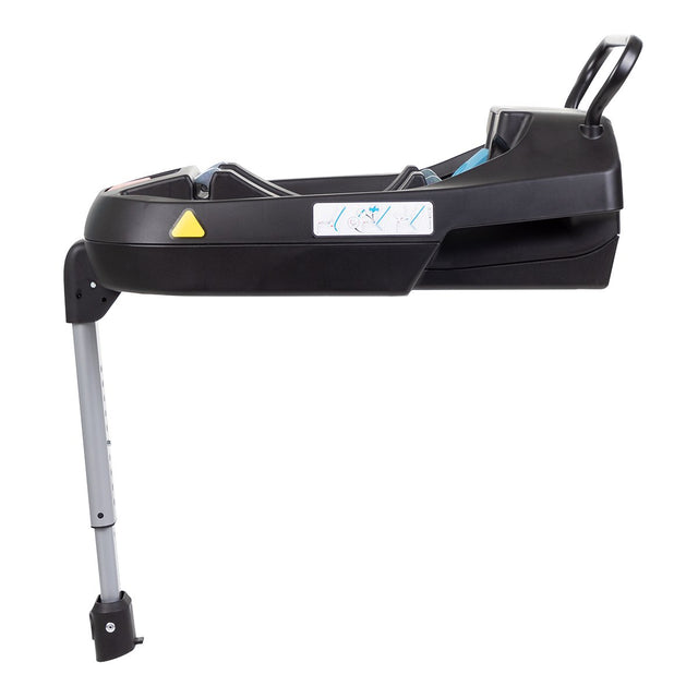 phil&teds universal car seat base shown side on with easy adjusting foot clamp and rear stability bar_black