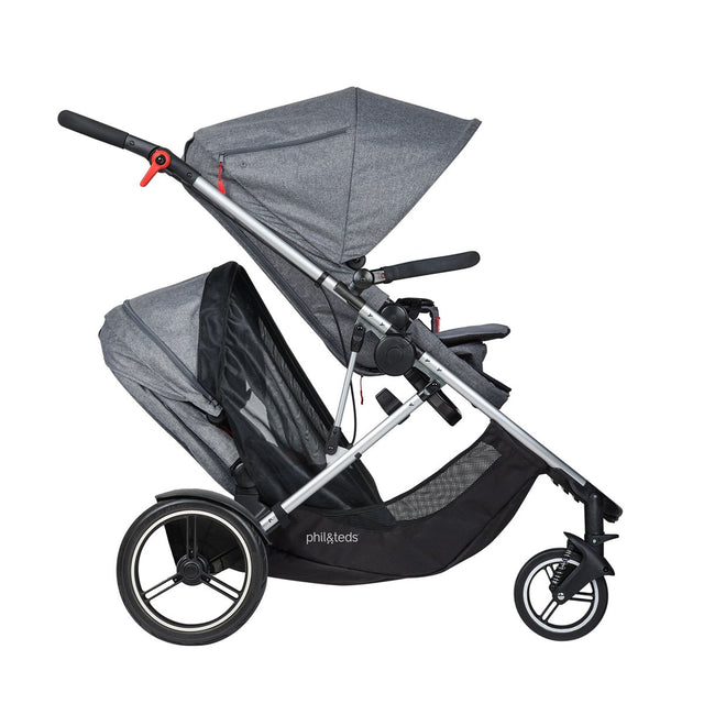 phil&teds voyager adaptable modular stroller charcoal grey with double kit sun cover side view_default