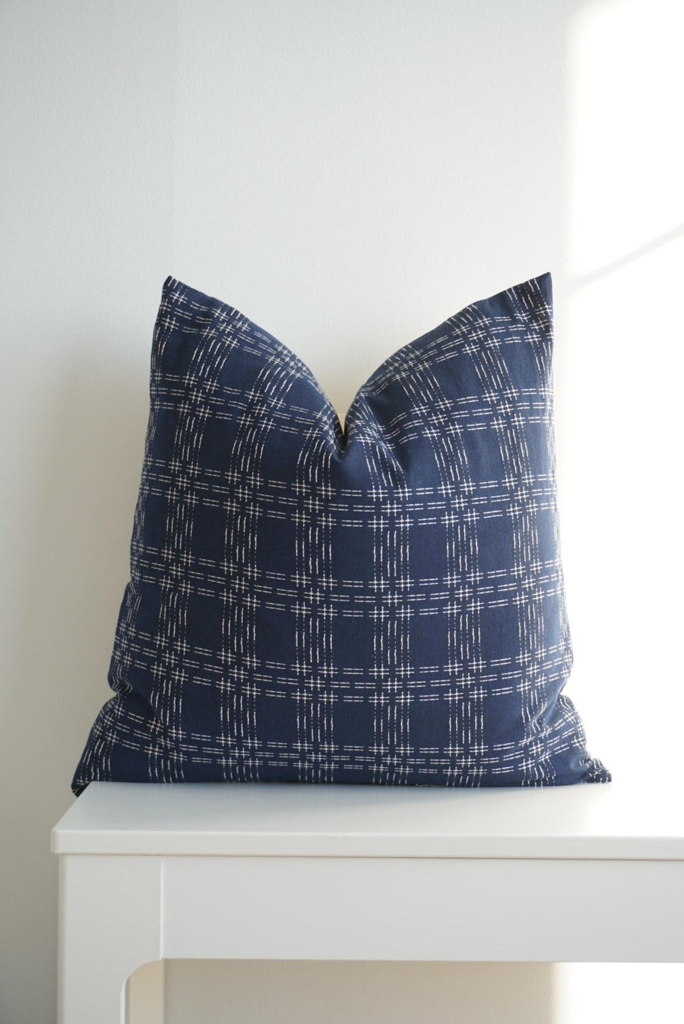 Indigo and Cream Stitched Pillow