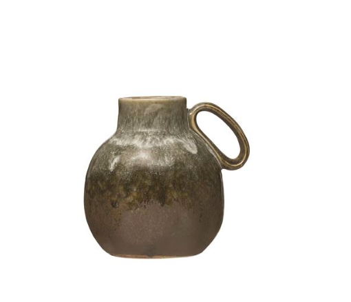 Green Stoneware Vase with Handle