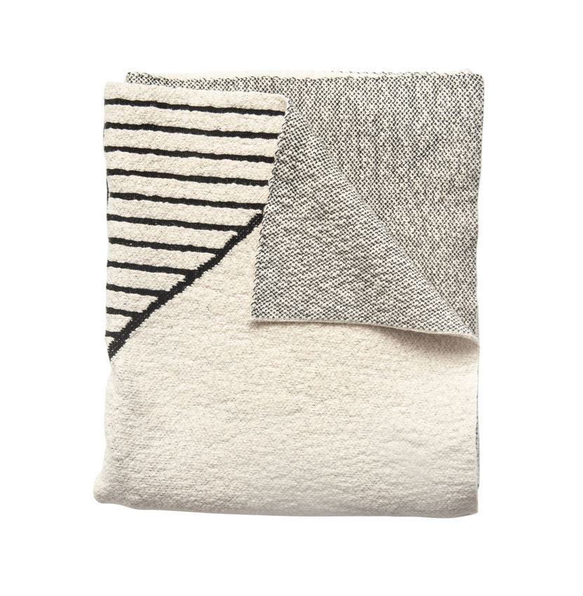 Cream and Black Patterned Throw