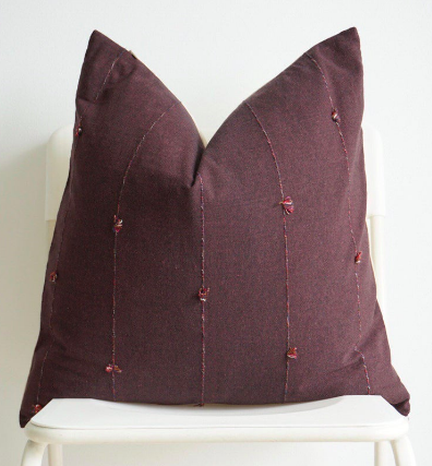 Maroon Striped Woven Pillow