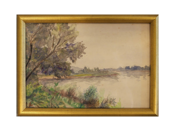Riverside Watercolor with Gold Frame