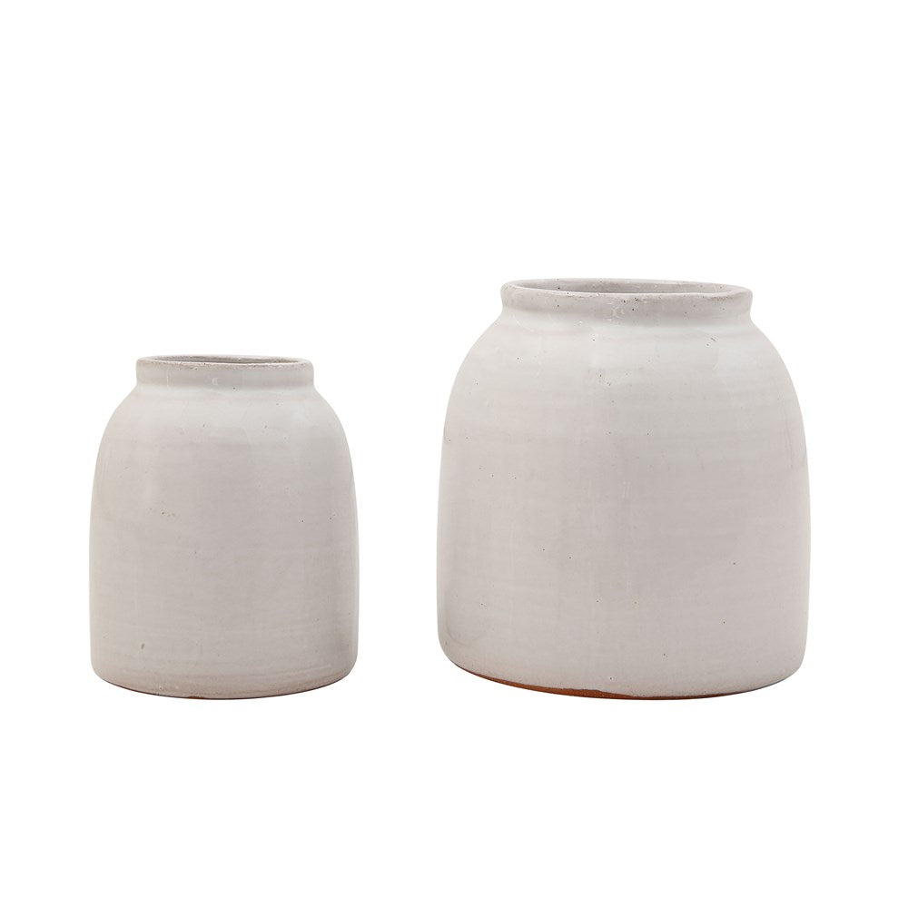 White Glazed Terra Cotta Vase